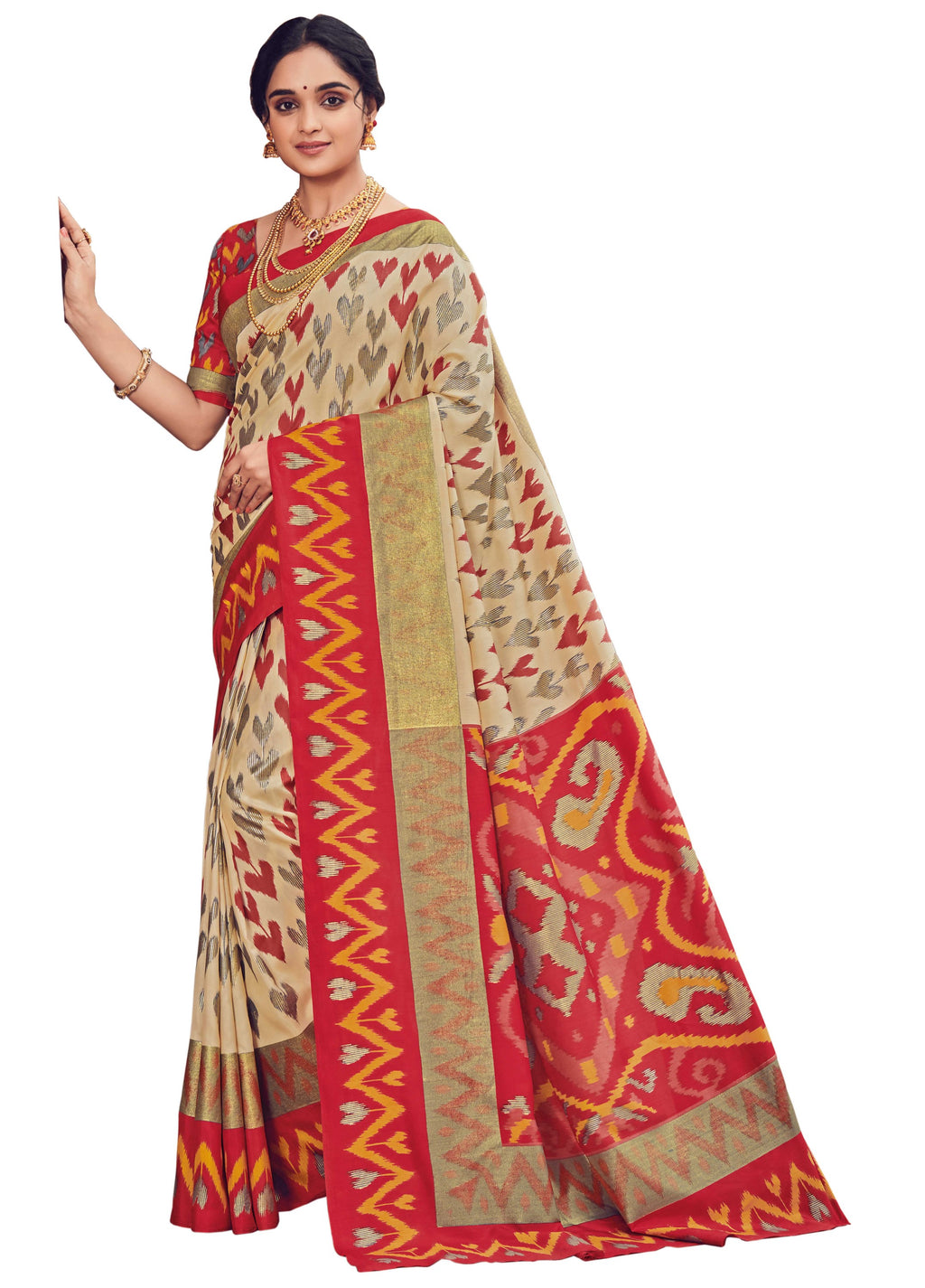Cream & Red Color Bhagalpuri Festive & Party Wear Sarees NYF-8663