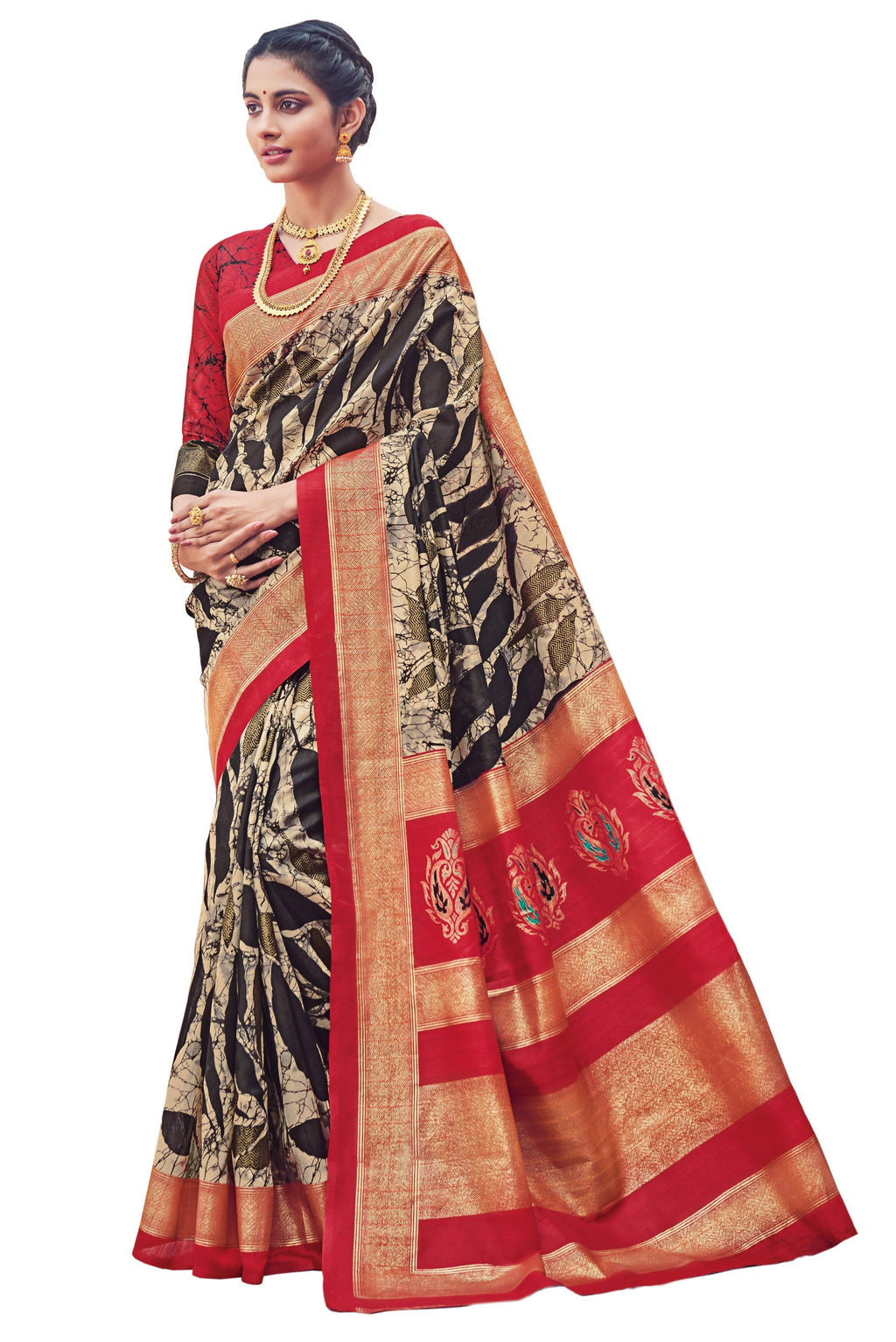 Black & Red Color Bhagalpuri Festive & Party Wear Sarees NYF-8664