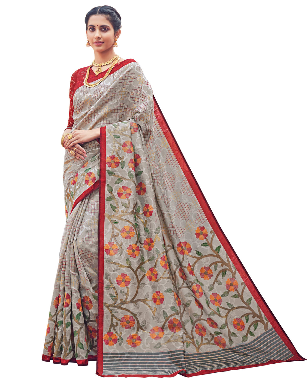 Grey Color Bhagalpuri Festive & Party Wear Sarees NYF-8665