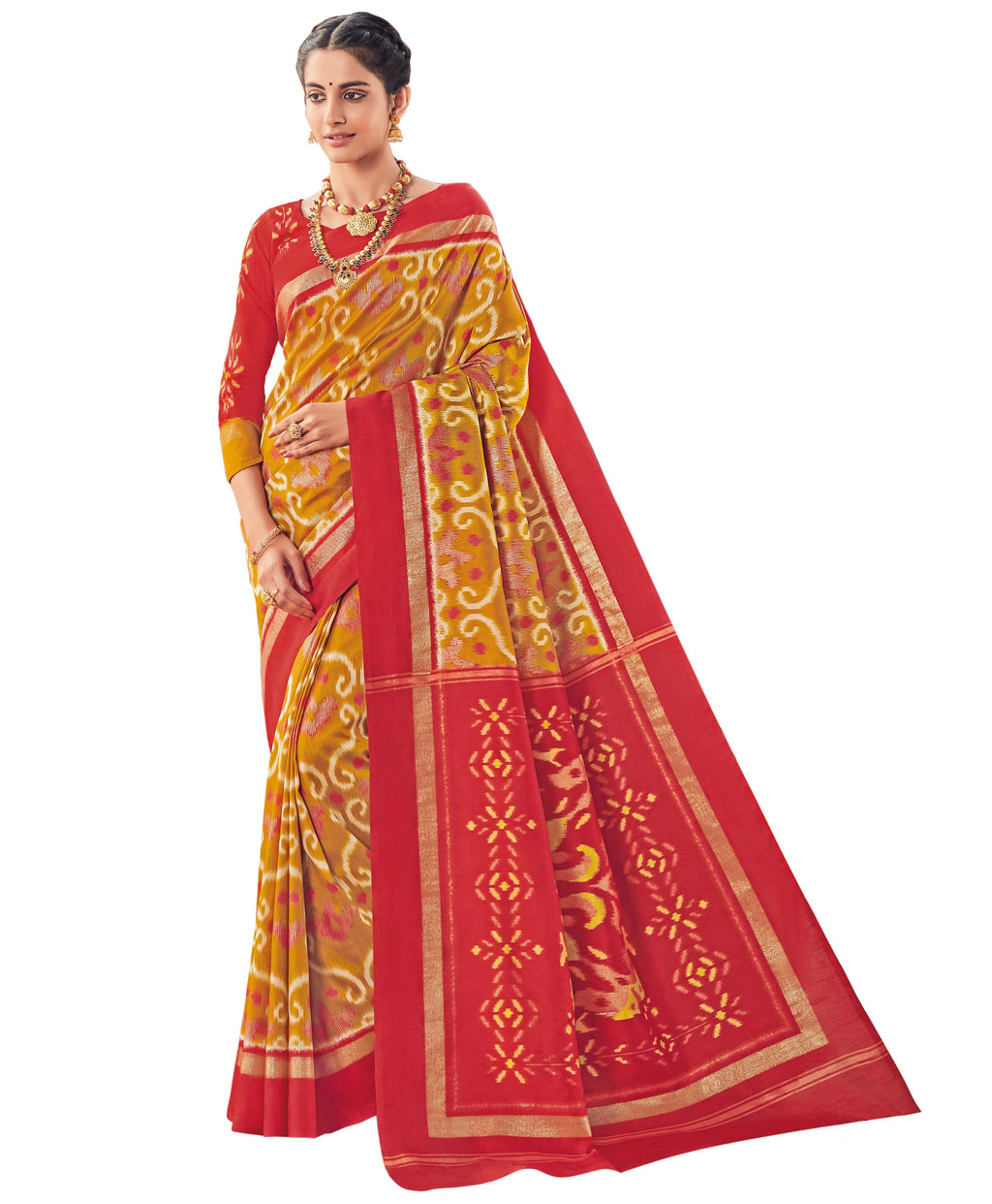 Mustard Yellow & Red Color Bhagalpuri Festive & Party Wear Sarees NYF-8666