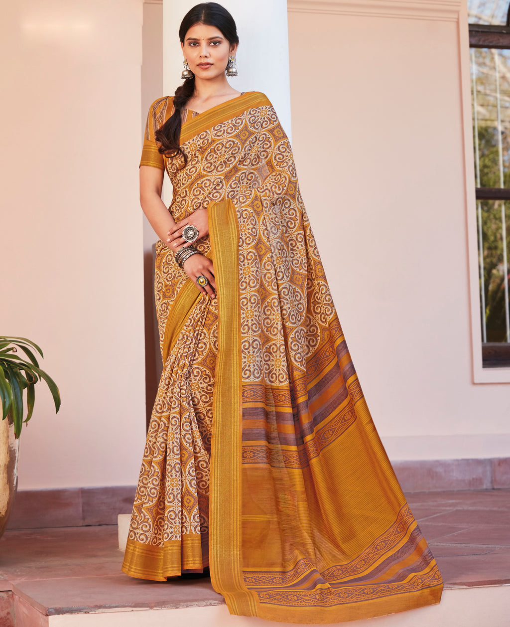 Yellow Color Cotton Casual Wear Sarees NYF-9700