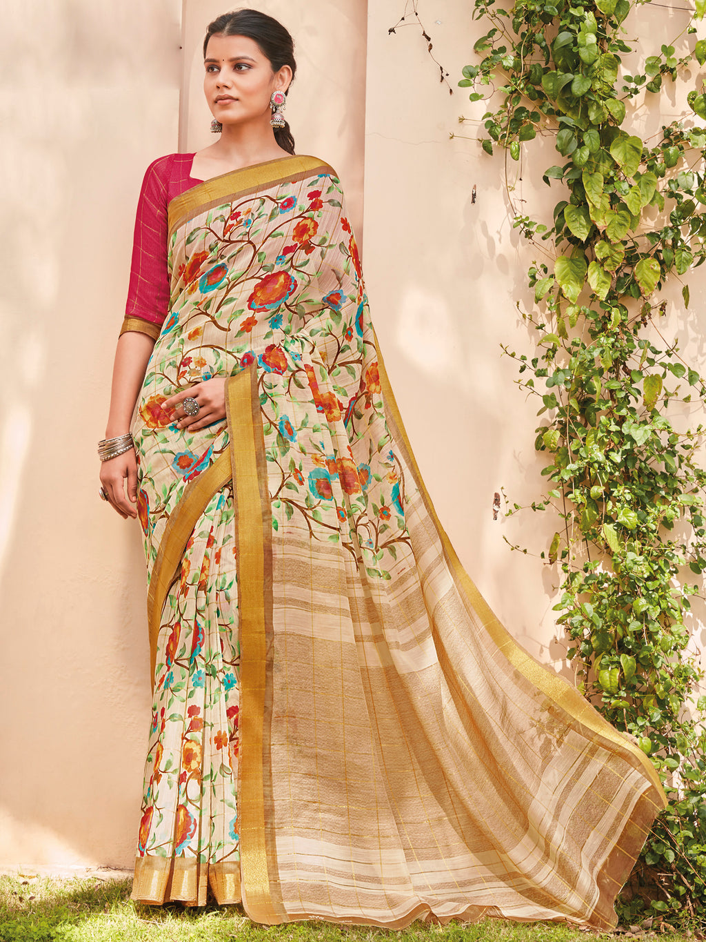 Cream Color Cotton Casual Wear Sarees NYF-9701