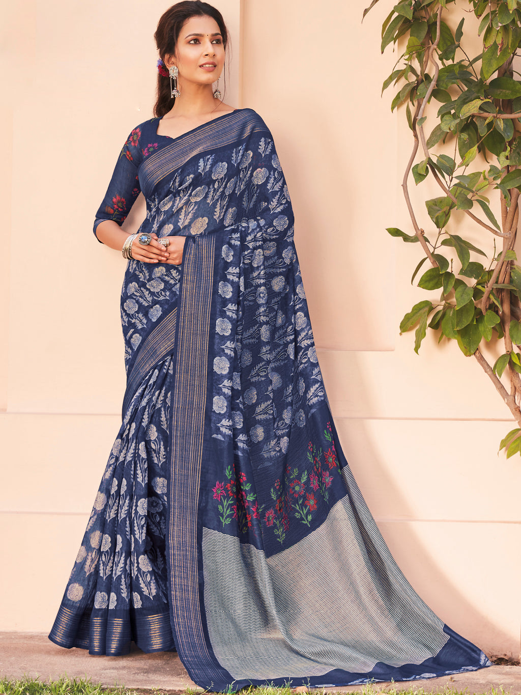 Blue Color Cotton Casual Wear Sarees NYF-9702