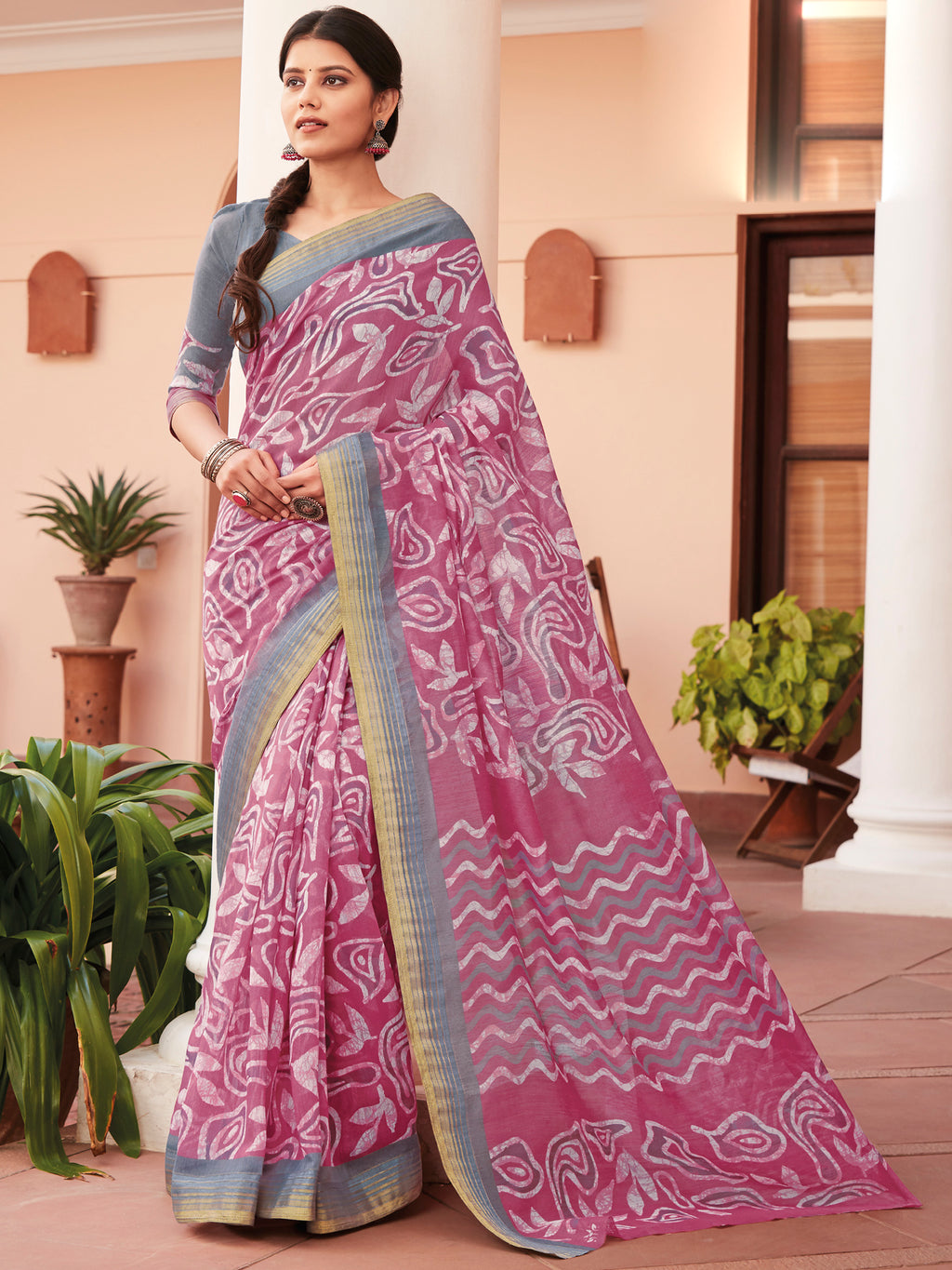 Pink Color Cotton Casual Wear Sarees NYF-9703