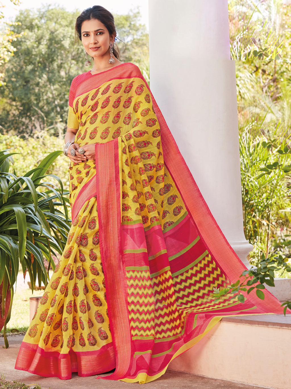 Yellow Color Cotton Casual Wear Sarees NYF-9704