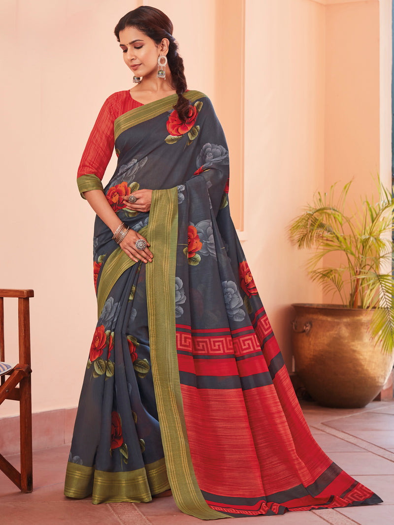Grey Color Cotton Casual Wear Sarees NYF-9705