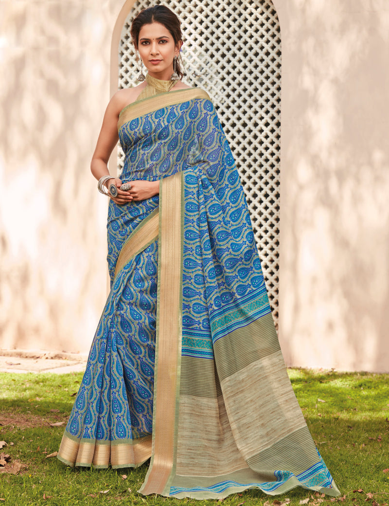 Blue Color Cotton Casual Wear Sarees NYF-9708