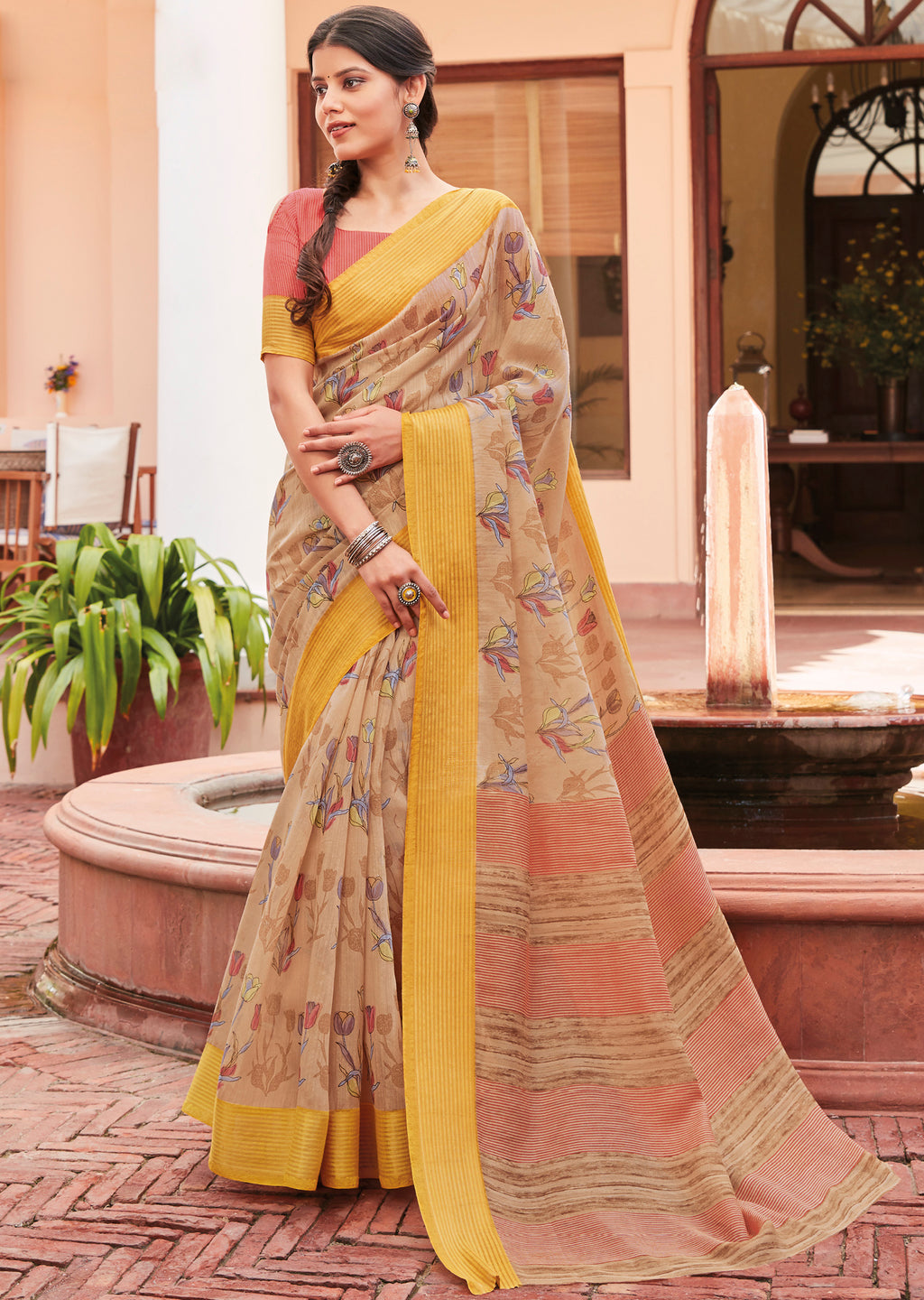 Beige Color Cotton Casual Wear Sarees NYF-9709