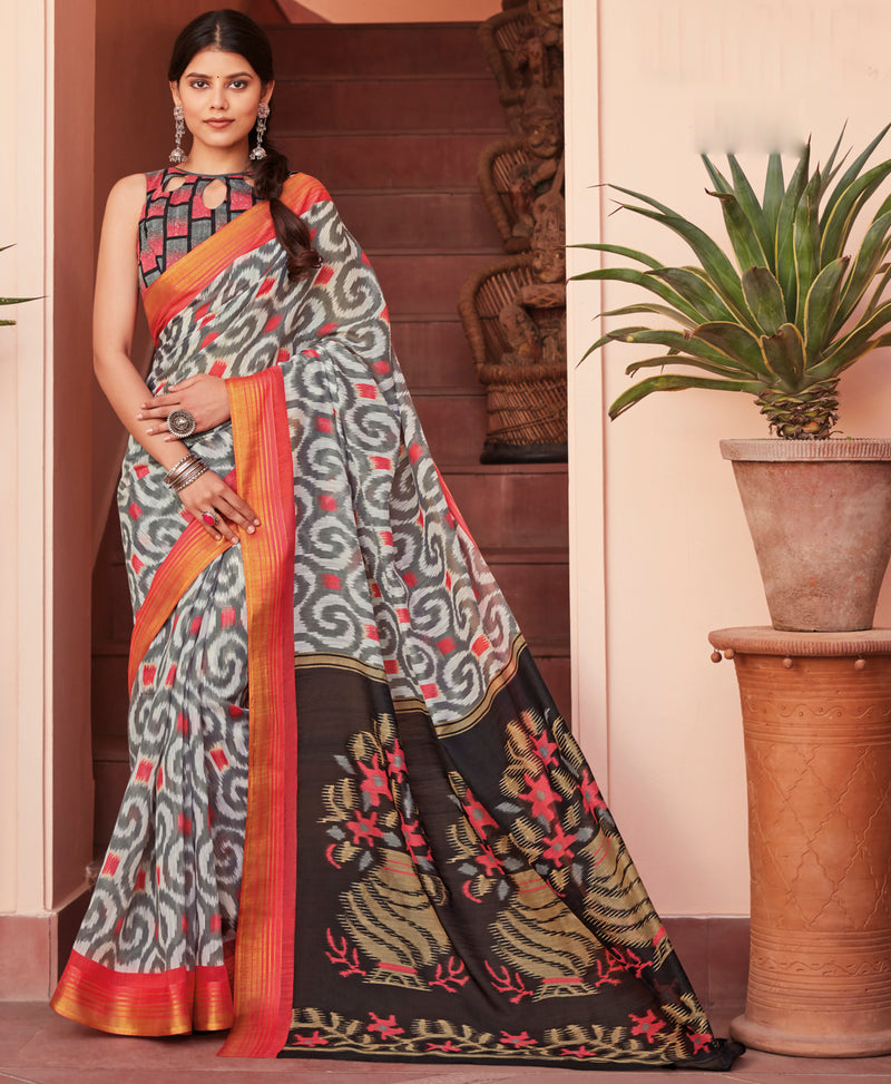 Grey Color Cotton Casual Wear Sarees NYF-9710