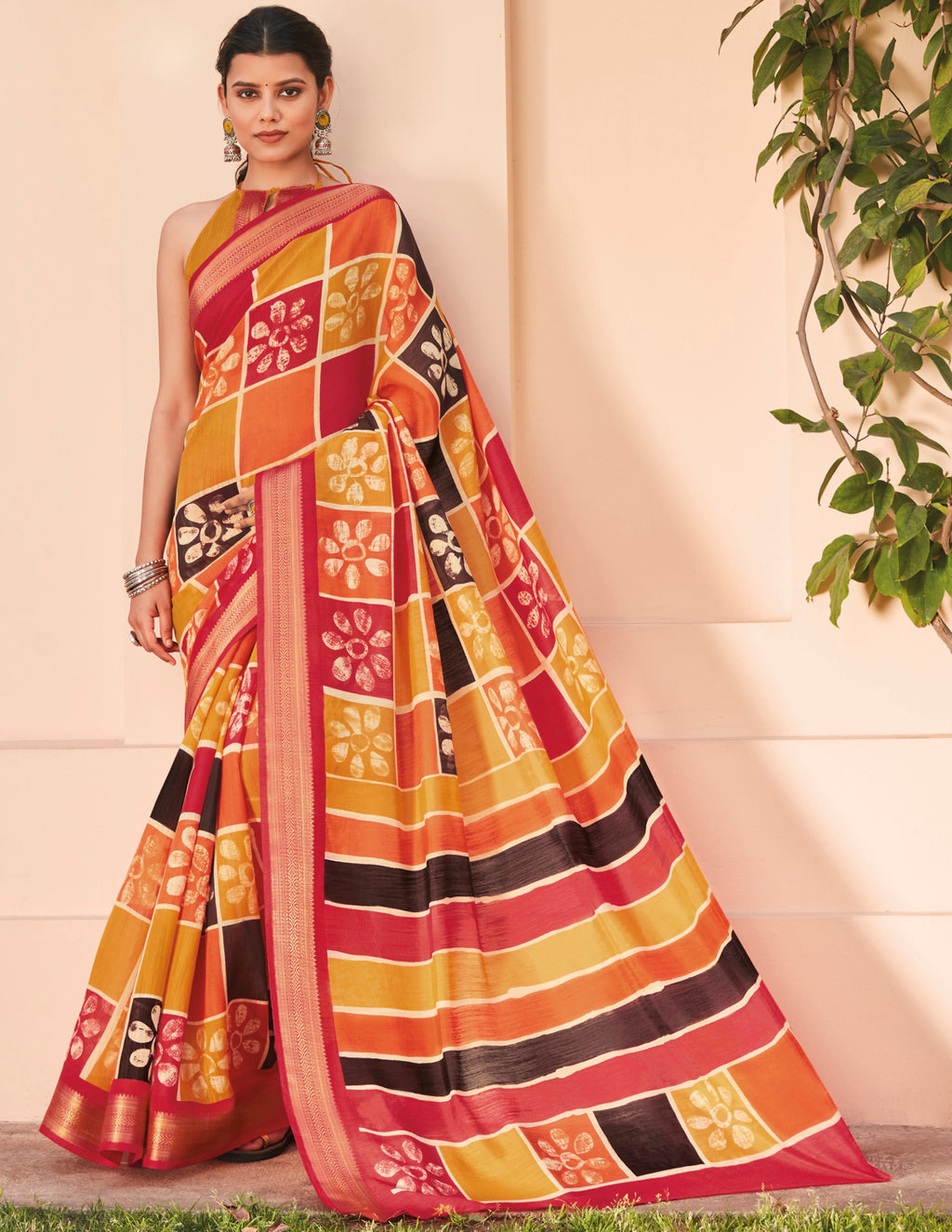 Multi Color Cotton Casual Wear Sarees NYF-9712