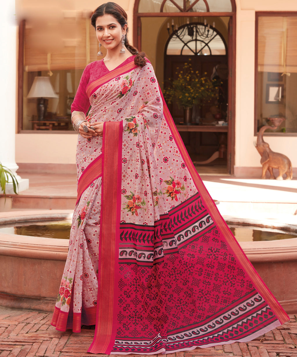 Pink Color Cotton Casual Wear Sarees NYF-9714