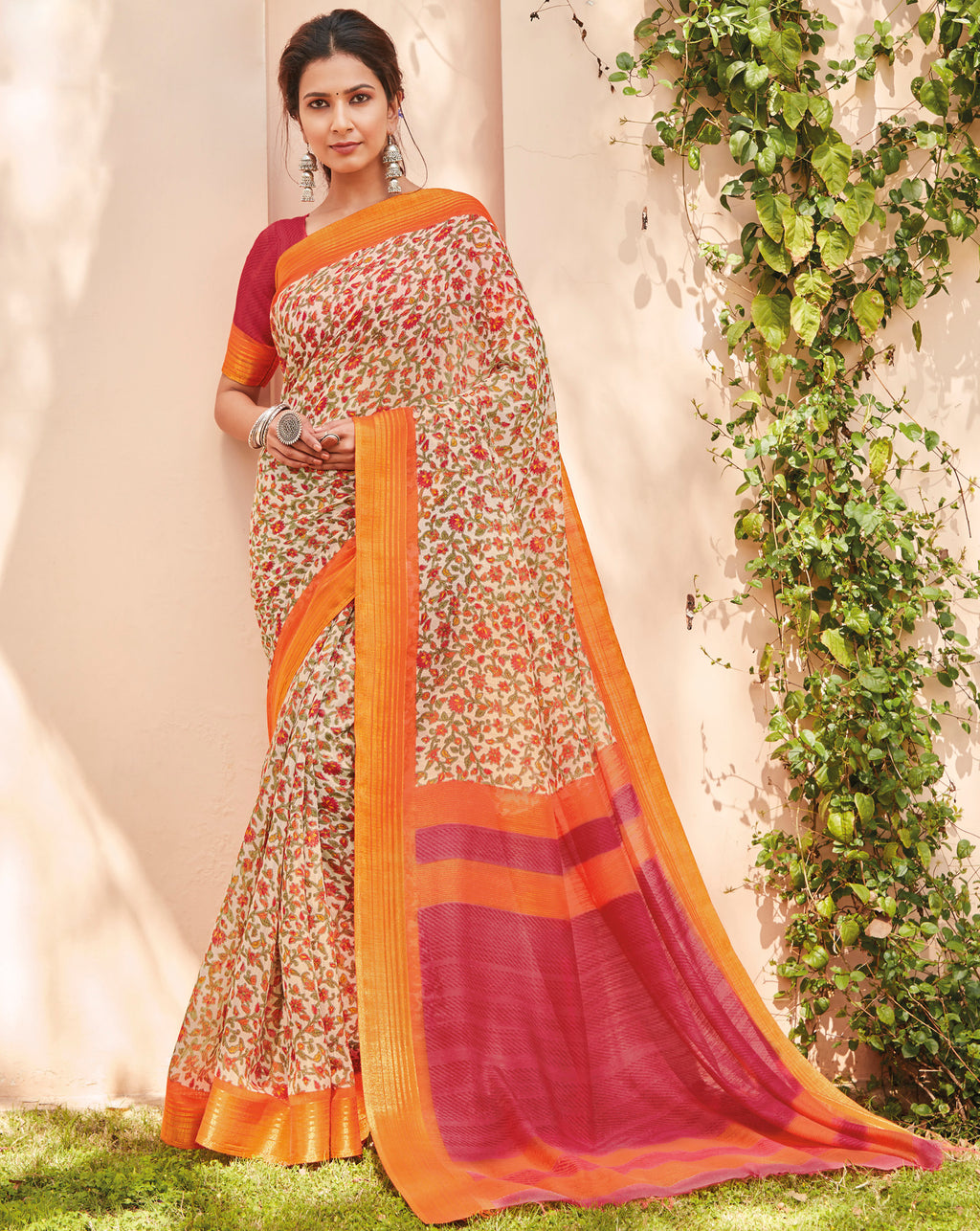 Multi Color Cotton Casual Wear Sarees NYF-9716