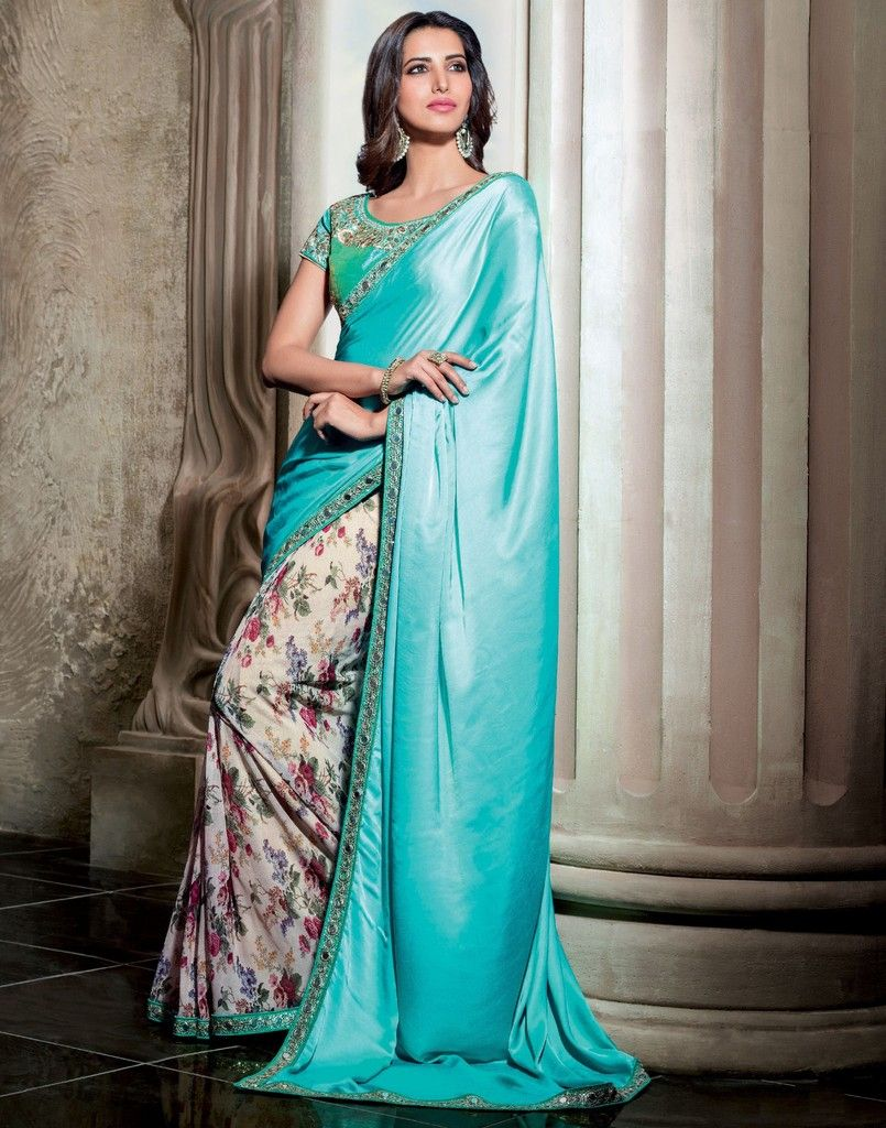 Aqua Blue & Cream Color Half Net & Half Raw Silk Designer Festive Sarees : Karini Collection  NYF-1252 - YellowFashion.in