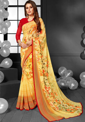 Red Color Georgette Casual Sarees : Mandrika Collection  YF-43630