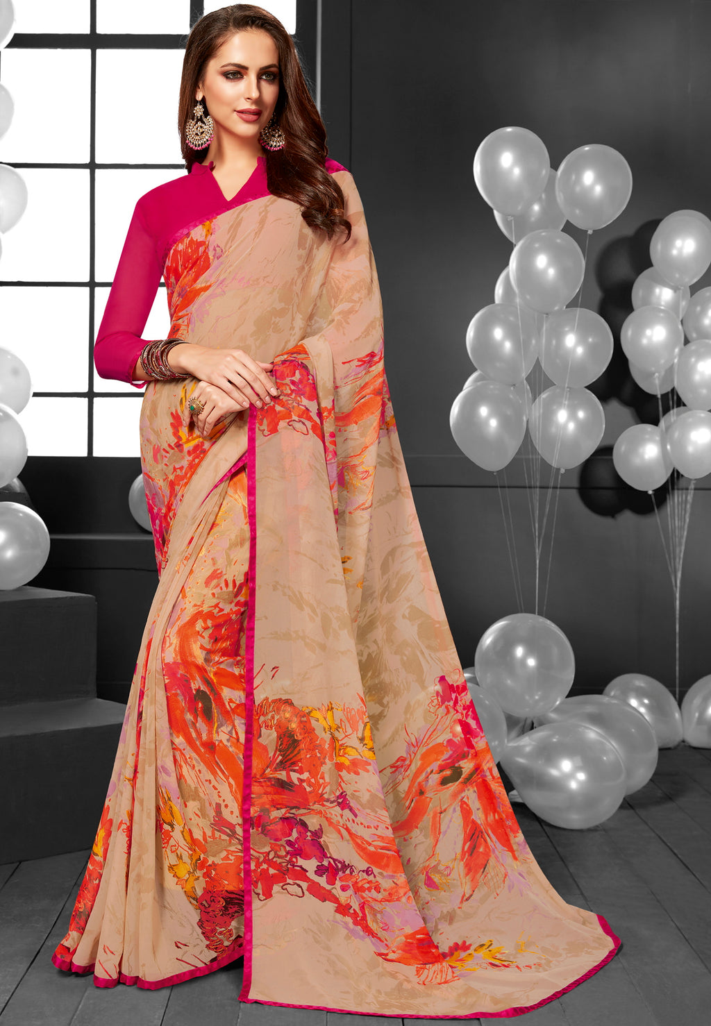 Light Peach Color Georgette Printed Daily Wear Sarees NYF-6368