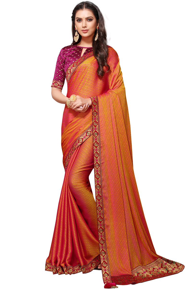 Orange Color Banarasi Jacquard Festive & Function Wear Sarees : NYF-8511