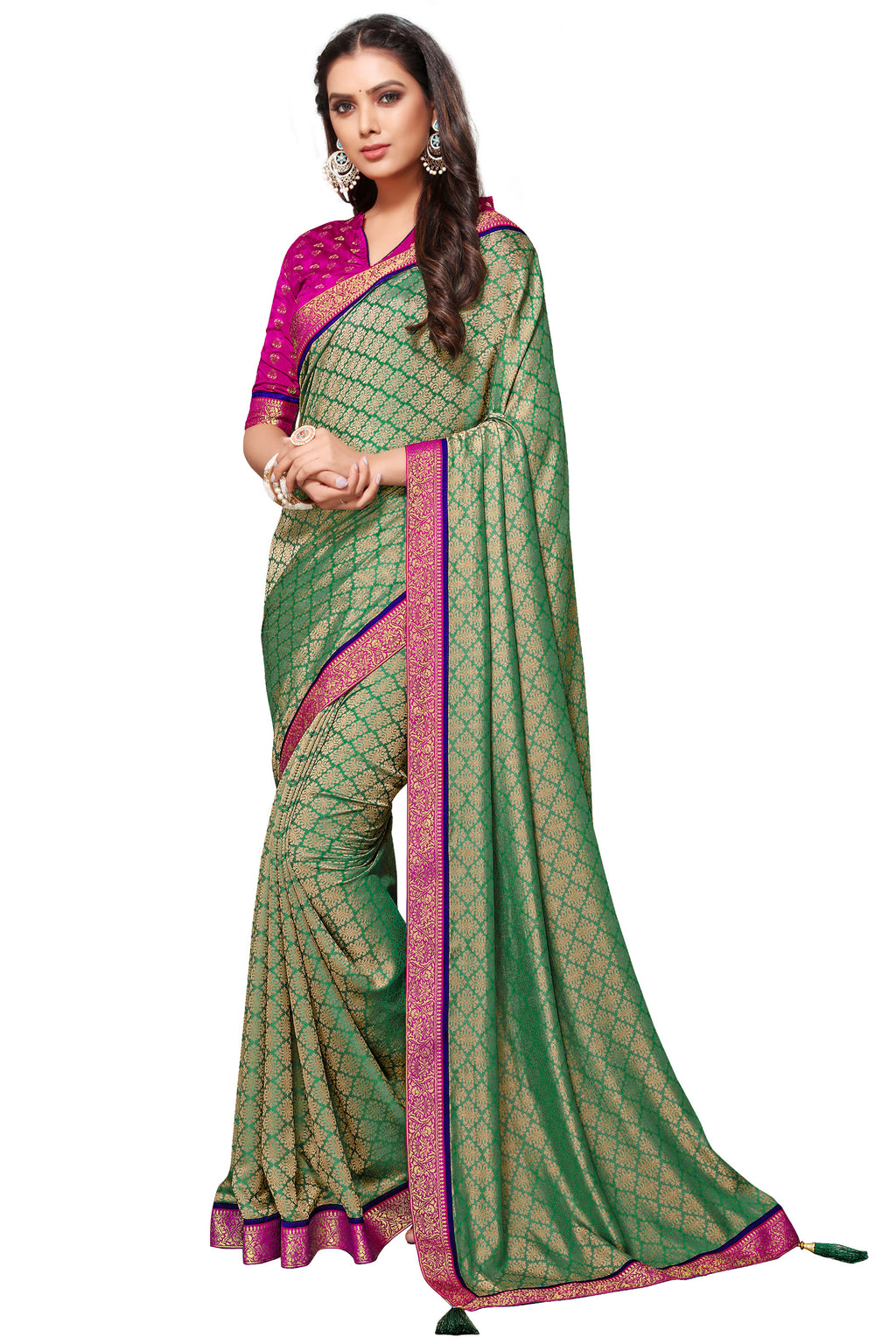 Green Color Banarasi Jacquard Festive & Function Wear Sarees : NYF-8516