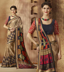 Beige & Blue Color Georgette Festive Wear Sarees : Sunaira Collection  YF-49845
