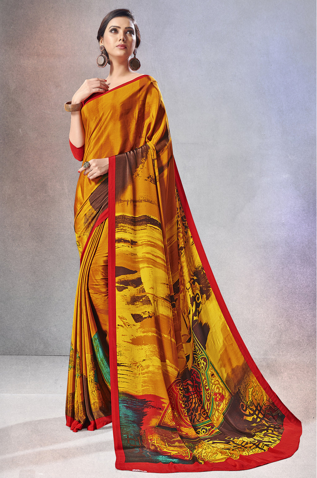 Mustard Yellow Color Crepe  Digital Print Kitty Party Sarees NYF-8150