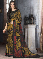 Golden, Black & Maroon Color Crepe Casual Party Sarees : Anudita Collection  YF-47968