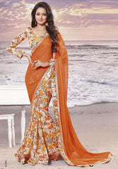 Orange Color Wrinkle chiffon Elegant Sarees : Daksha Collection  YF-43724