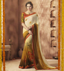Cream & Tobacco Color Georgette Festive Wear Sarees : Sunaira Collection  YF-49846