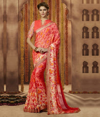 Pink and Orange Color Georgette Festive Wear Sarees : Sunaira Collection  YF-49847