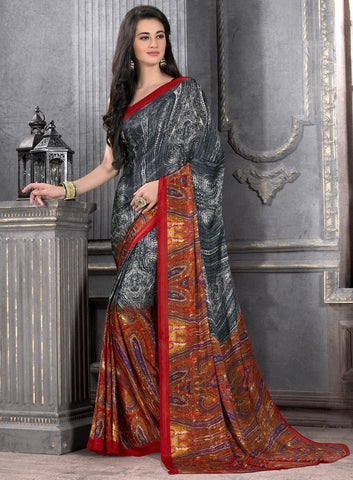 Grey, Orange & Red Color Crepe Casual Party Sarees : Anudita Collection  YF-47970