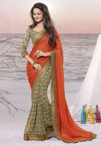 Orange Color Wrinkle chiffon Elegant Sarees : Daksha Collection  YF-43726