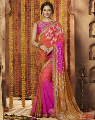 Pink & Tobacco Color Chiffon Festive Wear Sarees : Sunaira Collection  YF-49848