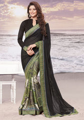 Black and green Color Half wrinkle chiffon and Half georgette butti Elegant Sarees : Daksha Collection  YF-43727