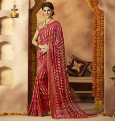 Pink & Orange Color Georgette Festive Wear Sarees : Sunaira Collection  YF-49849