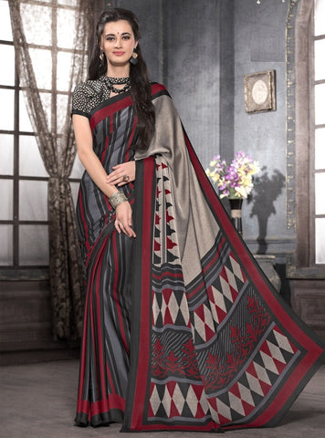 Black & Maroon Color Crepe Casual Party Sarees : Anudita Collection  YF-47972