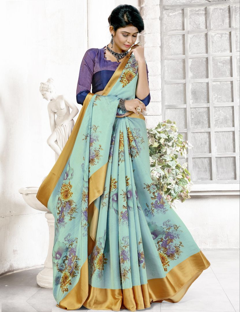 Aqua Blue Color Raw Silk Casual Printed Sarees NYF-3898 - YellowFashion.in