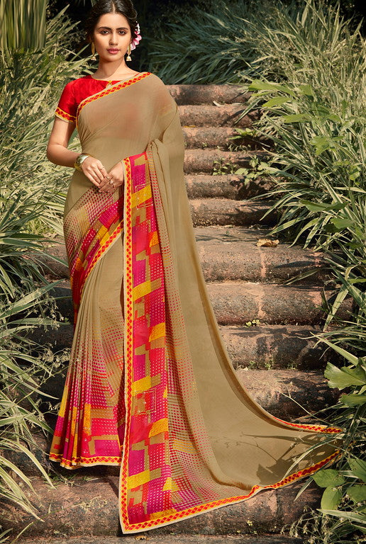 Beige and Pink Color Georgette Function wear Saree - Parmita Collection YF#10136