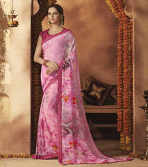 Pink Color Georgette Festive Wear Sarees : Sunaira Collection  YF-49850