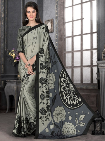 Metallic Green & Black Color Crepe Casual Party Sarees : Anudita Collection  YF-47973