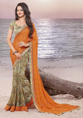 Orange Color Wrinkle chiffon Elegant Sarees : Daksha Collection  YF-43729