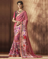 Pink Color Georgette Festive Wear Sarees : Sunaira Collection  YF-49851