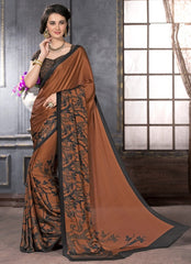 Copper Color Crepe Casual Party Sarees : Anudita Collection  YF-47974