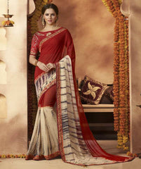 Red & Cream Color Georgette Festive Wear Sarees : Sunaira Collection  YF-49852