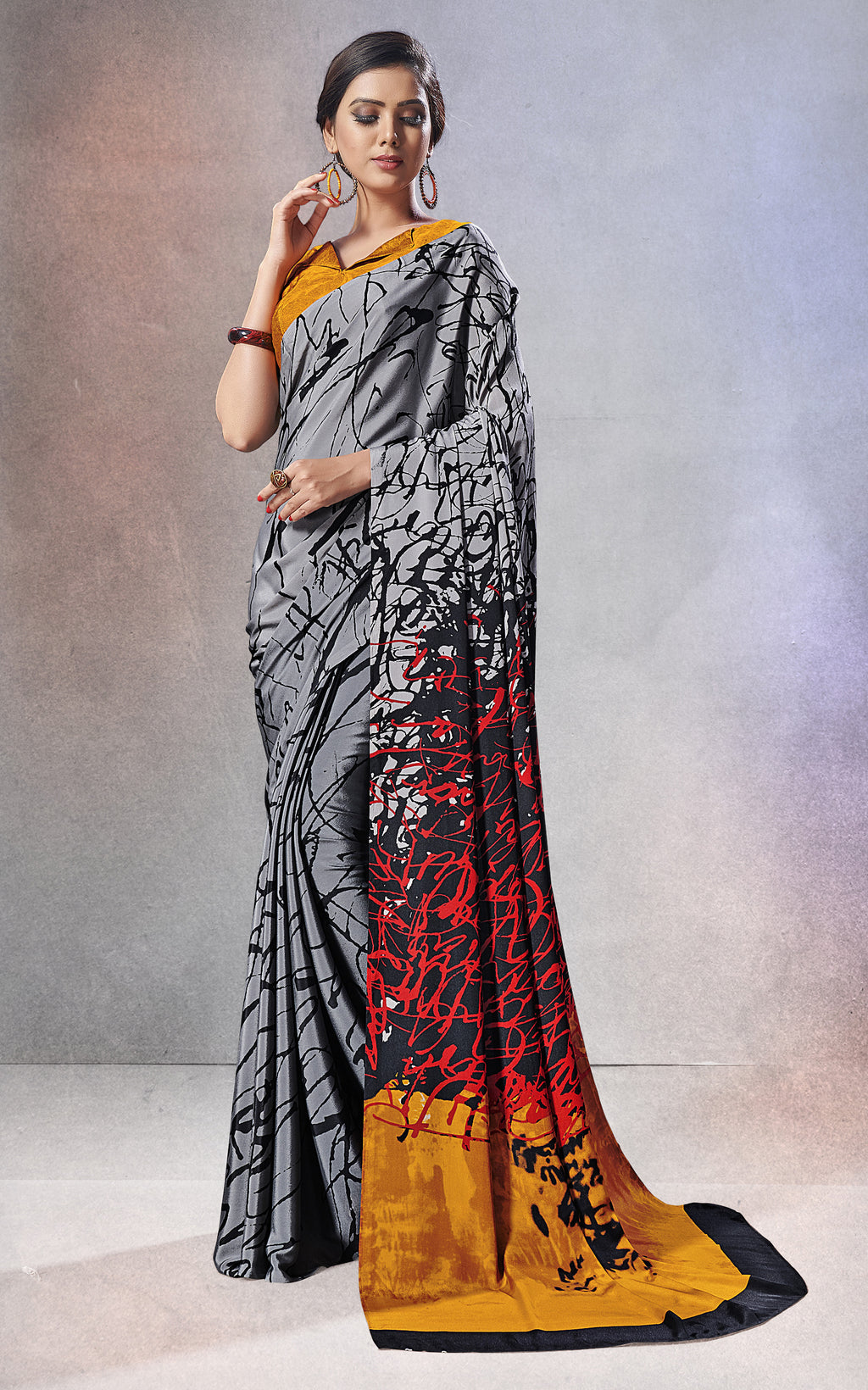 Grey Color Crepe  Digital Print Kitty Party Sarees NYF-8153