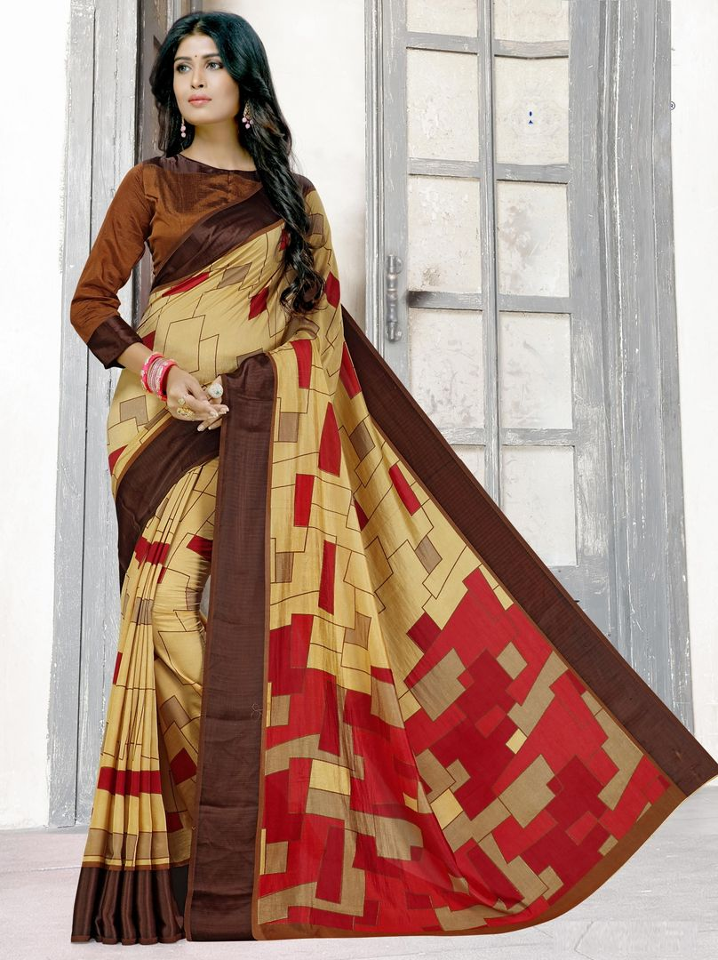 Light Yellow & Red Color Raw Silk Digital Print Sarees NYF-3901 - YellowFashion.in