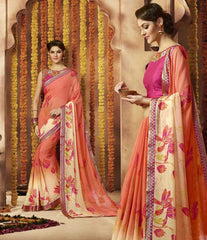 Cream & Peach Color Georgette Festive Wear Sarees : Sunaira Collection  YF-49853