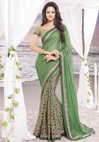 Green Color Wrinkle chiffon Elegant Sarees : Daksha Collection  YF-43732