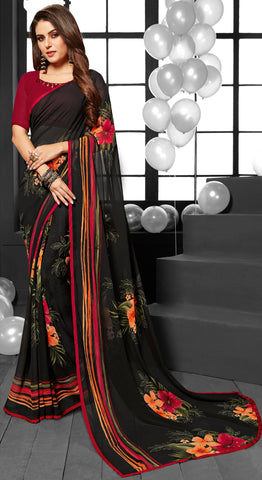 Grey and Brown Color Georgette Casual Sarees : Mandrika Collection  YF-43632