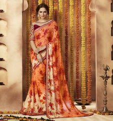 Orange Color Georgette Festive Wear Sarees : Sunaira Collection  YF-49854