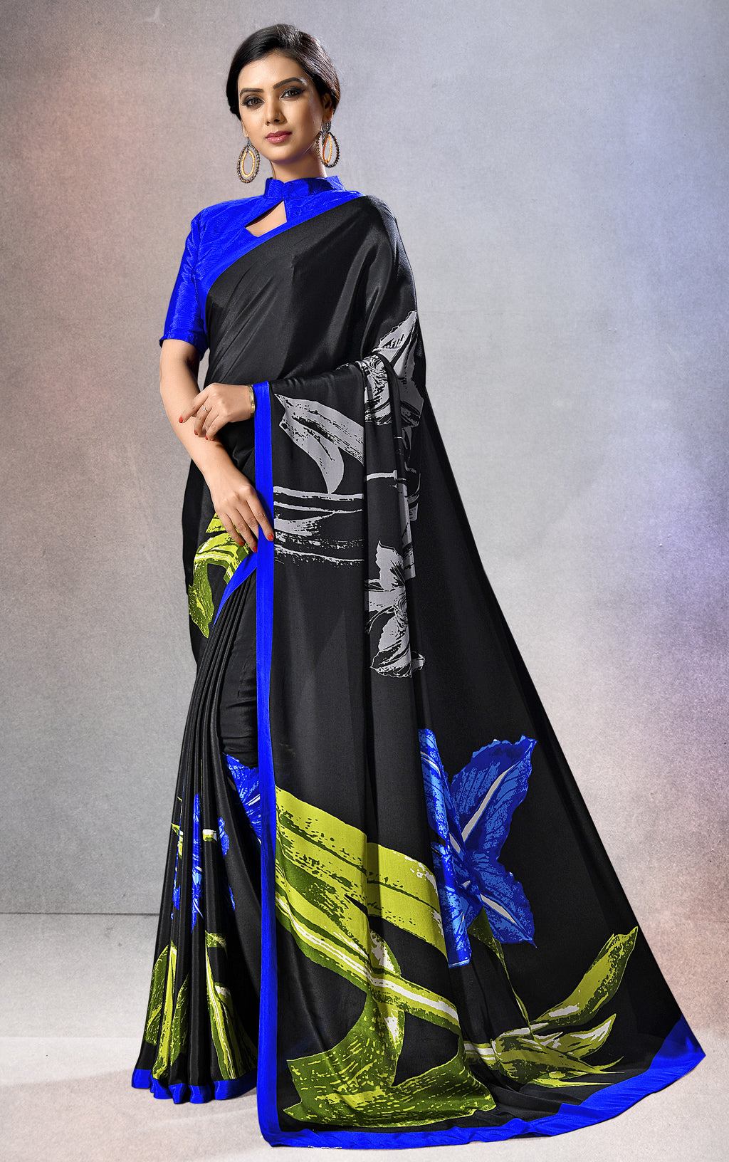 Black Color Crepe  Digital Print Kitty Party Sarees NYF-8154