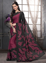 Black & Magenta Color Crepe Casual Party Sarees : Anudita Collection  YF-47977