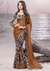 Brown Color Wrinkle chiffon Elegant Sarees : Daksha Collection  YF-43733